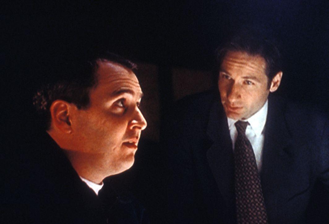 Eddie van Blundht (Darin Morgan, l.) wird von Mulder (David Duchovny, r.) verdächtigt, ohne Wissen der betreffenden Mütter der Vater von fünf Babys... - Bildquelle: TM +   2000 Twentieth Century Fox Film Corporation. All Rights Reserved.