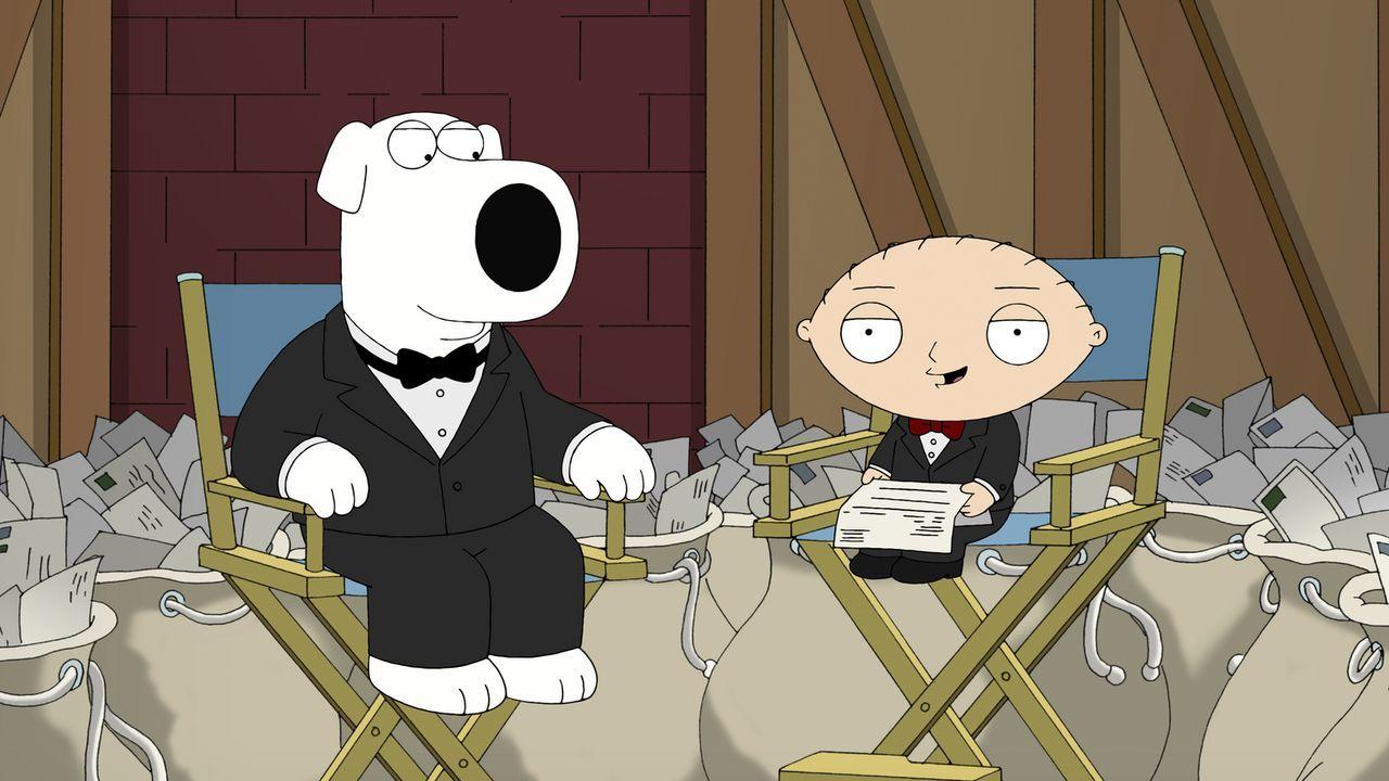 Brian (l.) und Stewie (r.) beschäftigen sich mit den wichtigsten Fan-Fragen ... - Bildquelle: 2011 Twentieth Century Fox Film Corporation. All rights reserved.