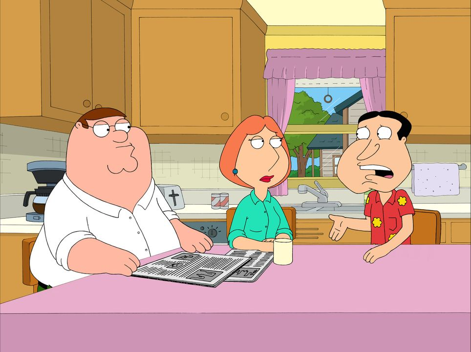 Quagmire (r.) erzählt Lois (M.) und Peter (l.) ganz aufgeregt, dass sein Vater, der hochdekorierte Kriegsheld, Dan Quagmire, in die Stadt kommt. - Bildquelle: 2007-2008 Twentieth Century Fox Film Corporation. All rights reserved.