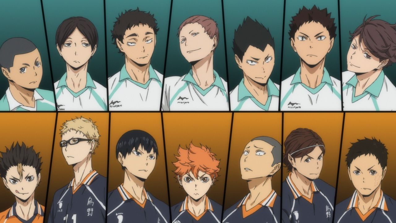 "(v.l.n.r., oben) Shinji Watari; Akira Kunimi; Issei Matsukawa; Takahiro Hanamaki; Yutaro Kindaichi; Hajime Iwaizumi; Toru Oikawa; (v.l.n.r., unten)... - Bildquelle: H. Furudate / Shueisha, ""HAIKYU!! 2nd Season"" Project, MBS  All Rights Reserved."