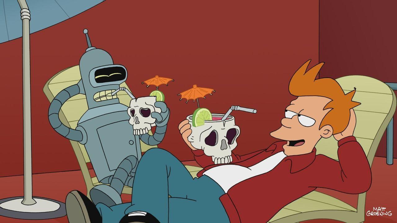 Bender (l.) und Fry (r.) ahnen nicht, dass etwas Großes auf sie zukommt ... - Bildquelle: Twentieth Century Fox Film Corporation. All rights reserved.