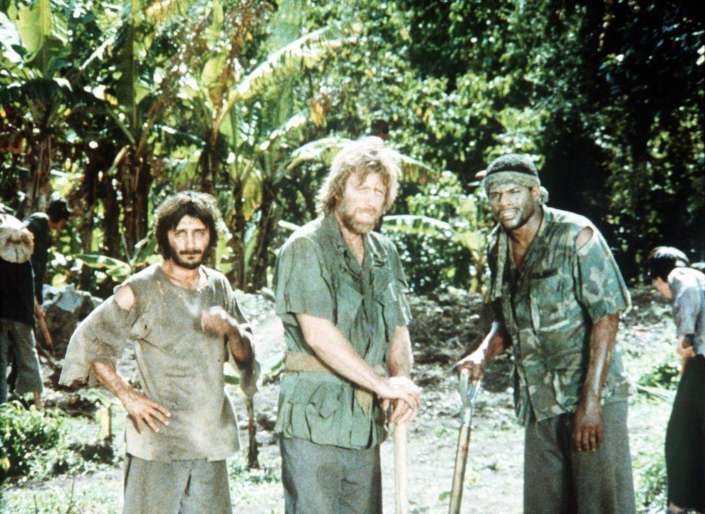 Colonel Braddock (Chuck Norris, M.) und seine Leute sind seit Monaten im Lager des sadistischen Kommandanten Yin gefangen ... - Bildquelle: Cannon Films