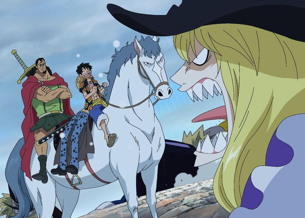 (v.l.n.r.) Kyros; Trafalgar D. Law; Ruffy; Cavendish - Bildquelle: Eiichiro Oda/Shueisha, Toei Animation