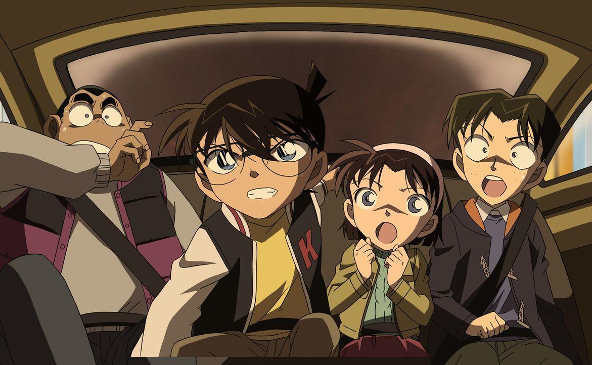 Nachdem ein Bombenanschlag auf die neue U-Bahn-Linie Tokio verübt wurde, machen sich Conan (2.v.l.) und seine Freunde auf den Weg nach Kitanosawa, u... - Bildquelle: 2011 GOSHO AOYAMA/DETECTIVE CONAN COMMITTEE All Rights Reserved.