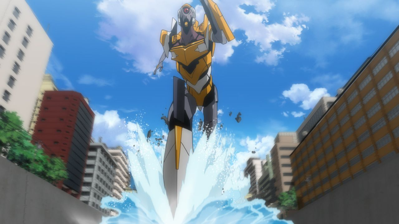 Als ein Engel droht, auf eine große Basis von NERV zu stürzen, ist Teamwork gefragt. Doch lässt sich Asuka auf so etwas ein? - Bildquelle: khara, GAINAX. All rights reserved