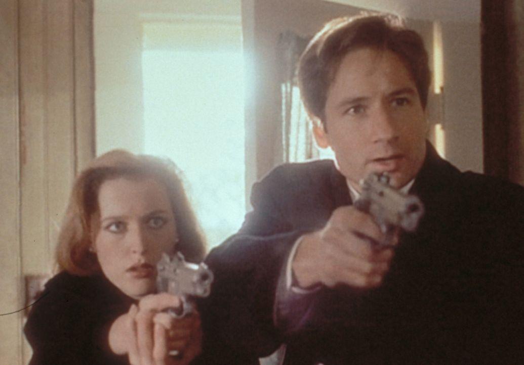 Scully (Gillian Anderson, l.) und Mulder (David Duchovny, r.) verhaften den Entführer eines 10-jährigen Jungen, der aufgrund seiner Kreuzigungsmerkm... - Bildquelle: TM +   2000 Twentieth Century Fox Film Corporation. All Rights Reserved.