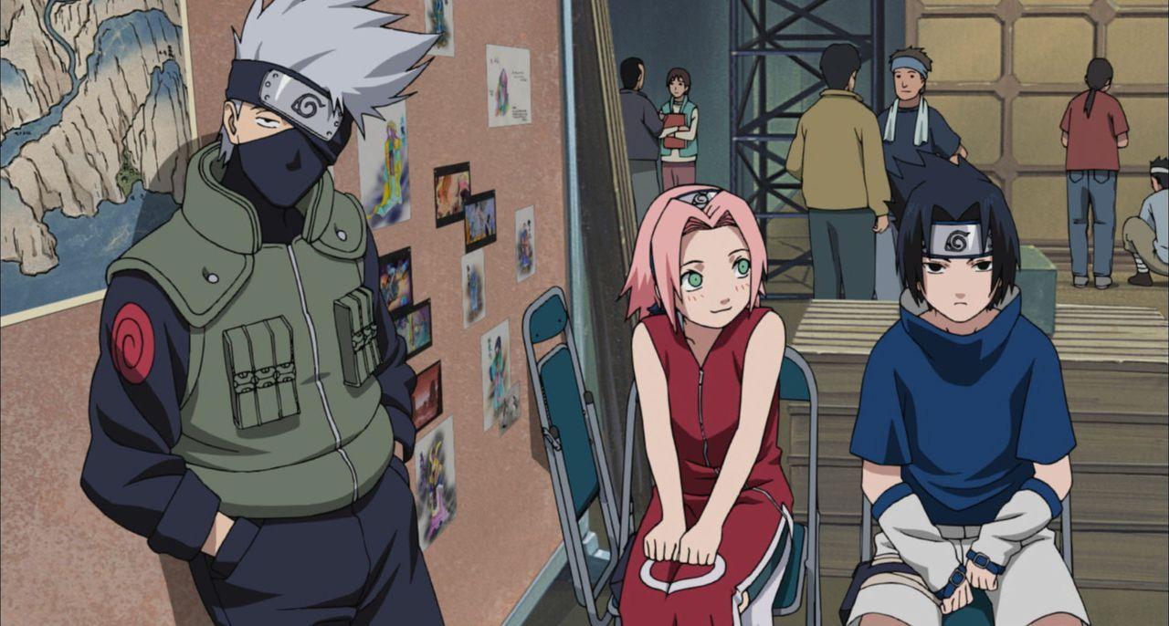 Das Trio (v.l.n.r.) Naruto, Sakura und Sasuke wird beauftragt, die berühmte Schauspielerin Yukie im Land des ewigen Schnees zu beschützen. Als tatsä... - Bildquelle: MASASHI KISHIMOTO  NMP 2004