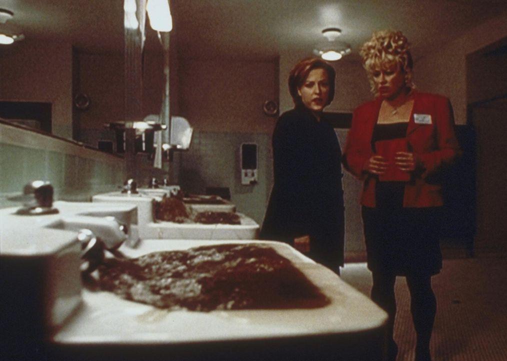Scully (Gillian Anderson, r.) und Sheila (Victoria Jackson, l.) beobachten, wie die Kanalisation aufgrund sintflutartiger Regenfälle überläuft und U... - Bildquelle: TM +   2000 Twentieth Century Fox Film Corporation. All Rights Reserved.