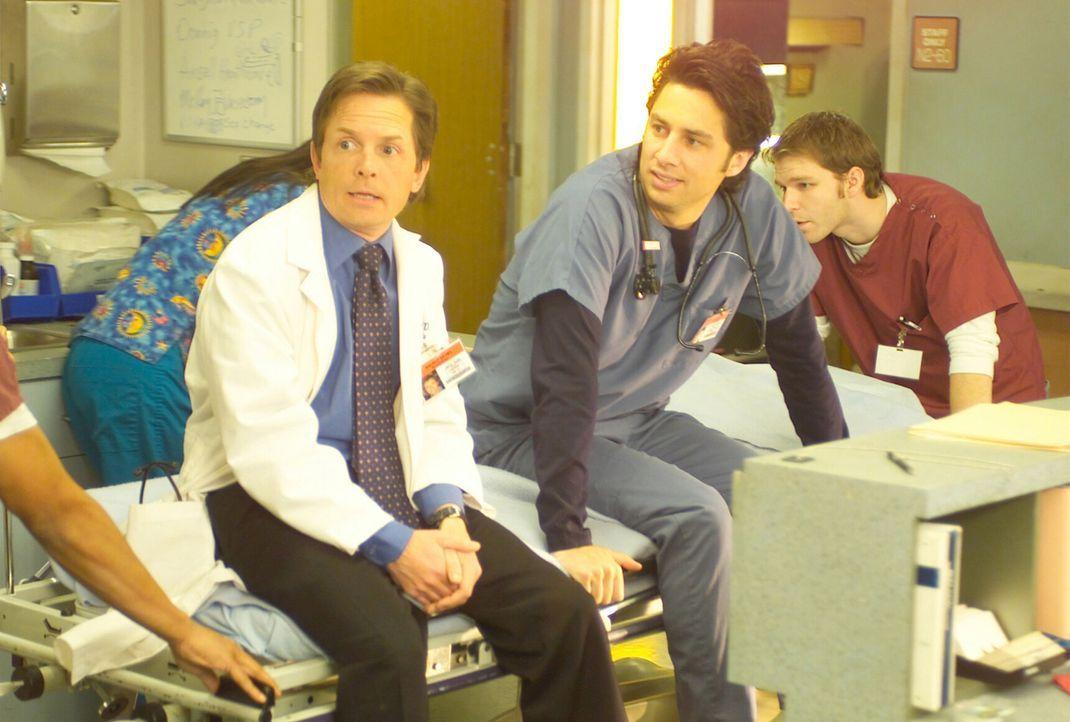 Als J.D. (Zach Braff, r.) Dr. Casey (Michael J. Fox, l.) aufspürt wird ihm zum ersten Mal klar, wie schwer es ist, mit Zwangsneurosen zu leben ... - Bildquelle: Touchstone Television