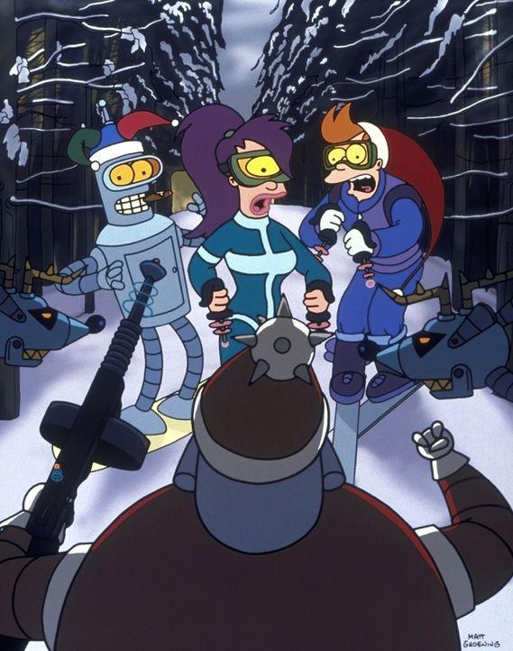 Auf der Weihnachtsfeier der Futurama-Mannschaft werden (v.l.n.r.) Bender, Leela und Fry von einem bösen Weihnachtsmann-Roboter bedroht ... - Bildquelle: und TM Twenthieth Century Fox Film Corporation - Alle Rechte vorbehalten.