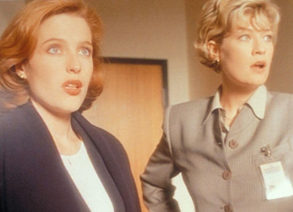Scully (Gillian Anderson, l.) und Det. Angela White (Dana Wheeler-Nicholson, r.) sind entsetzt, als sich der Sarg eines Opfers der mysteriösen Reihe... - Bildquelle: TM +   2000 Twentieth Century Fox Film Corporation. All Rights Reserved.