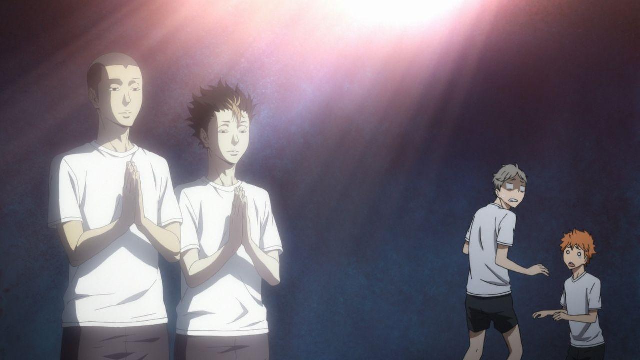 "(v.l.n.r.) Ryunosuke Tanaka; Yu Nishinoya; Koshi Sugawara; Shoyo Hinata - Bildquelle: H. Furudate / Shueisha, ""HAIKYU!! 2nd Season"" Project, MBS  All Rights Reserved."