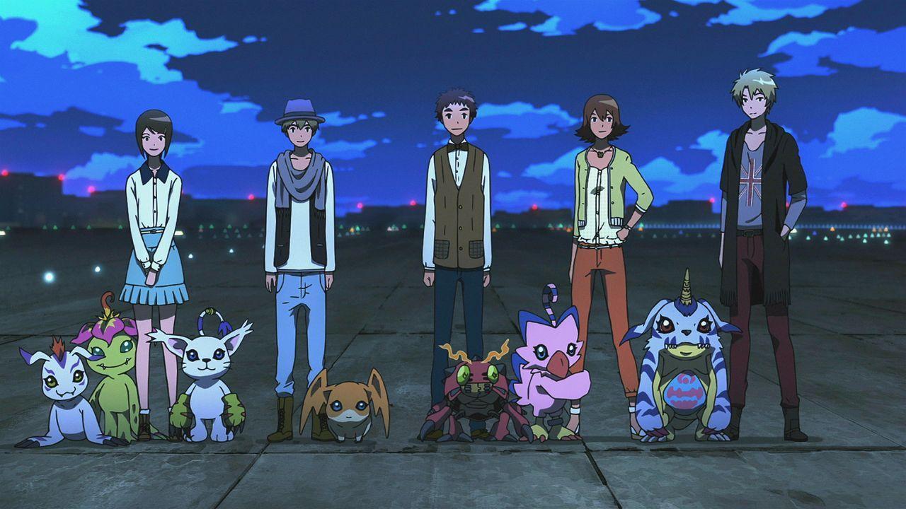 (v.l.n.r.) Gomamon; Palmon; Kari Yagami; Gatomon; T.K. Takaishi; Patamon; Izzy Izumi; Tentomon; Biyomon; Sora Takenouchi; Gabumon; Matt Ishida - Bildquelle: 2015 Toei Animation Co., Ltd.