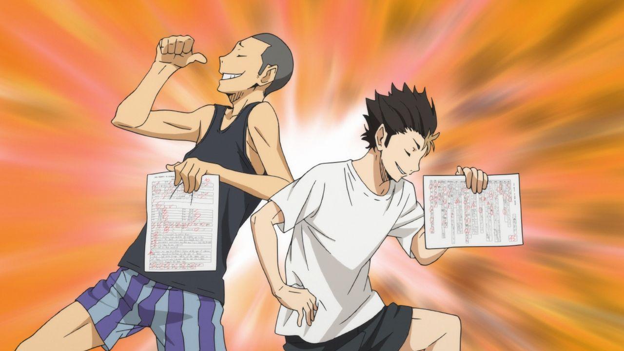 (v.l.n.r.) Ryunosuke Tanaka; Yu Nishinoya - Bildquelle: H. Furudate / Shueisha, >HAIKYU!! 2nd Season< Project, MBS  All Rights Reserved.