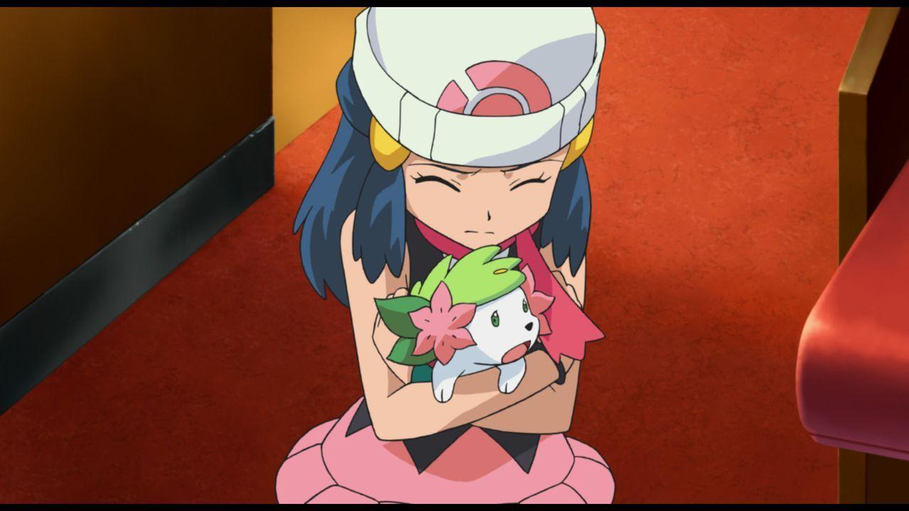 Lucia versucht verzweifelt das verängstigte Shaymin  zu beschützen ... - Bildquelle: 2014 Pokémon.   1997-2014 Nintendo, Creatures, GAME FREAK, TV Tokyo, ShoPro, JR Kikaku. TM, ® Nintendo.