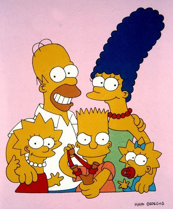 (4. Staffel) - Die Simpsons, eine etwas andere amerikanische Familie: Vater Homer (2.v.l.), Mutter Marge (2.v.r.), Lisa (l.), Bart (M.) und Maggie (... - Bildquelle: und TM Twentieth Century Fox Film Corporation - Alle Rechte vorbehalten