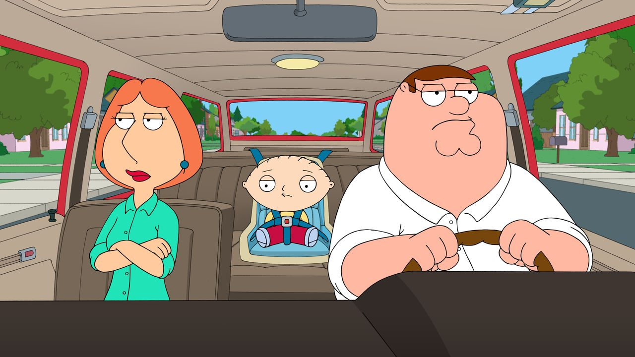 """Bei Einkaufen geraten Lois (l.), Peter (r.) und Stewie (M.) in ein Casting für das neue """"Erdnussbutter-Kind"""". Die Produzenten wollen für diese Rolle... - Bildquelle: 2015-2016 Fox and its related entities. All rights reserved."""