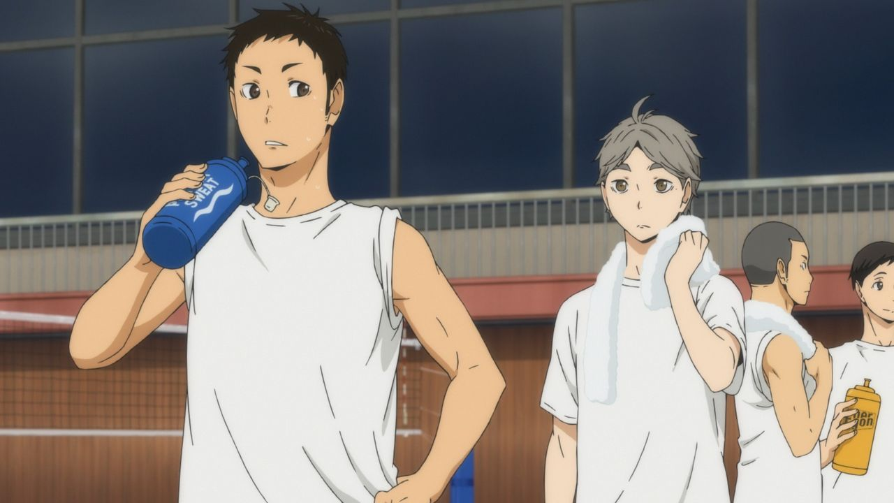 (v.l.n.r.) Daichi Sawamura; Koshi Sugawara; Ryunosuke Tanaka; Chikara Ennoshita - Bildquelle: H. Furudate / Shueisha, >HAIKYU!! 2nd Season< Project, MBS  All Rights Reserved.