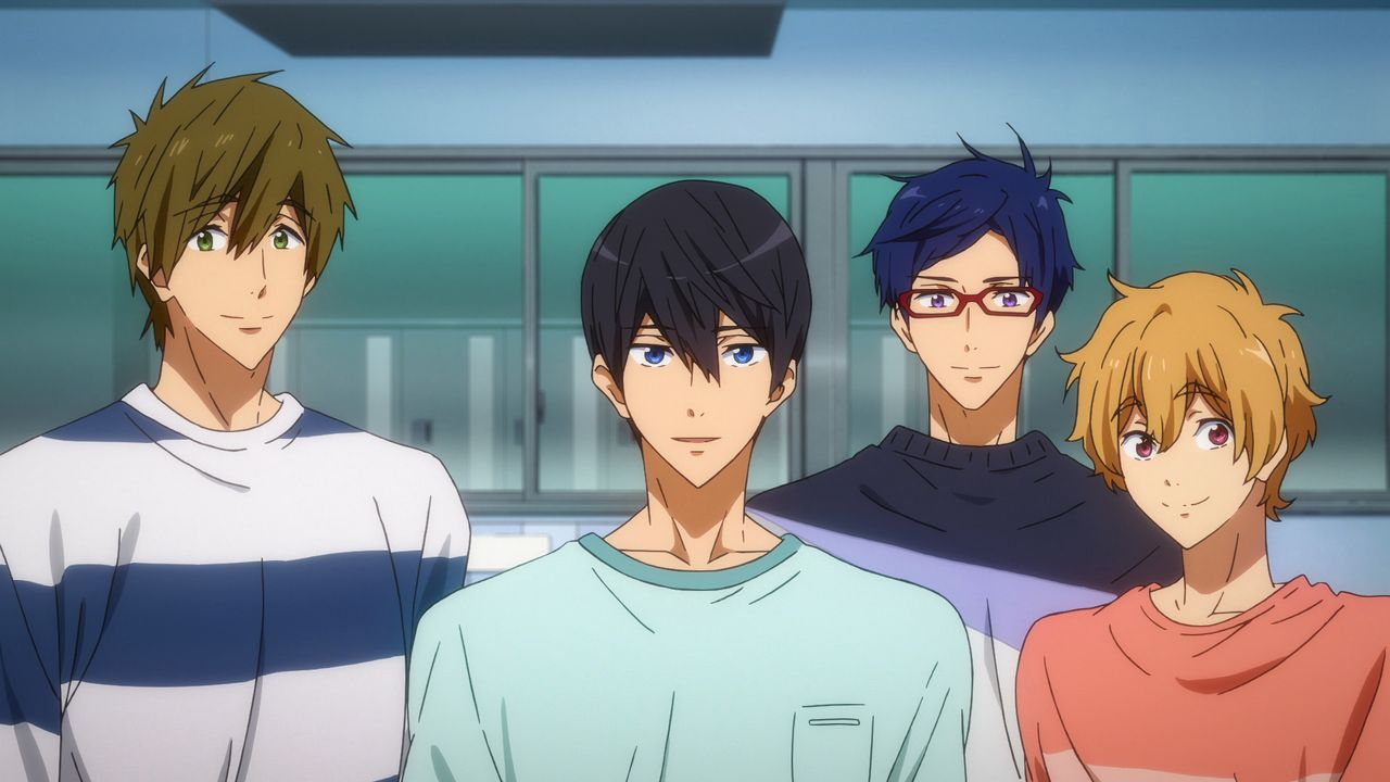 (v.l.n.r.) Makoto Tachibana; Haruka Nanase; Rei Ryugazaki; Nagisa Hazuki - Bildquelle: 2017 Ohji Kouji/Kyoto Animation/Iwatobi High School Swimming Club TYM Production Committee