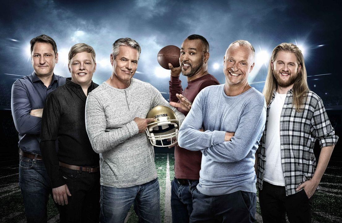 Die Football-Experten von ProSieben MAXX präsentieren den Live-Countdown zum 51. Super Bowl, dem amerikanischen TV-Ereignis des Jahres: (v.l.n.r.) R... - Bildquelle: Martin Saumweber ProSiebenMAXX