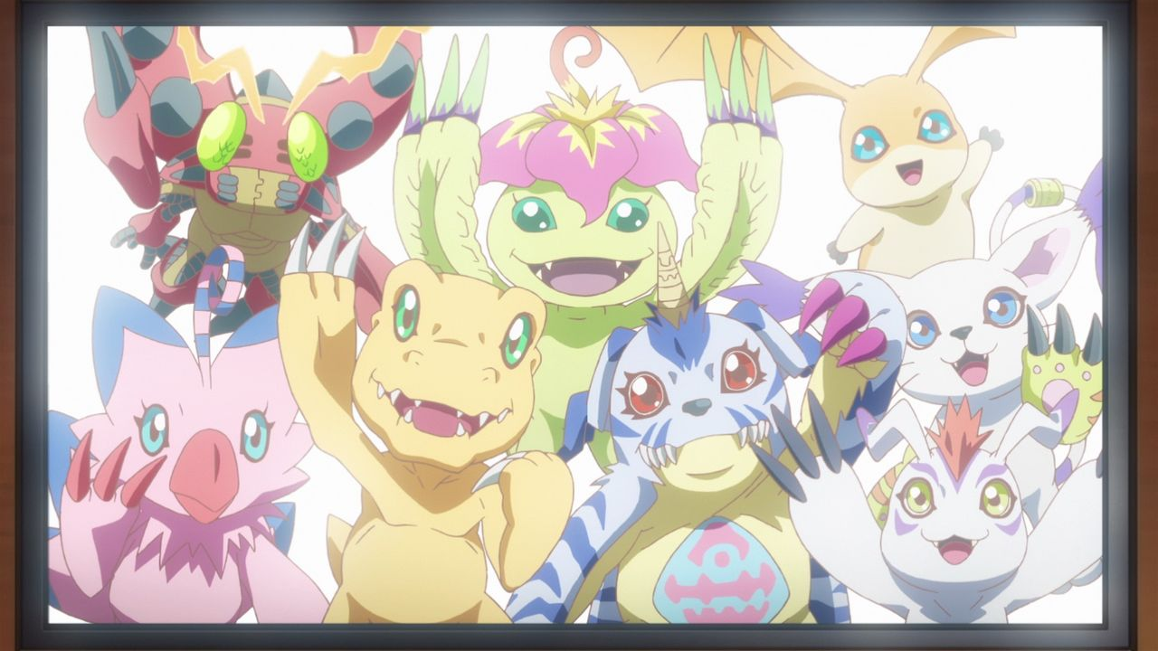 (hinten v.l.n.r.) Tentomon; Palmon; Patamon; (vorne v.l.n.r.) Biyomon; Agumon; Gabumon; Gomamon; Gatomon - Bildquelle: 2015 Toei Animation Co., Ltd.