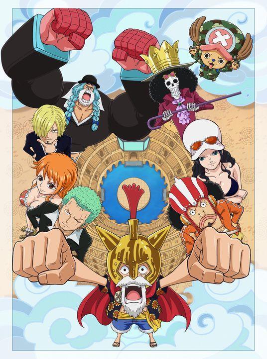 (im Uhrzeigersinn) Brook; Robin; Lysop; Ruffy; Zorro; Nami; Sanji; Franky; (oben r.) Chopper - Bildquelle: Eiichiro Oda/Shueisha, Toei Animation