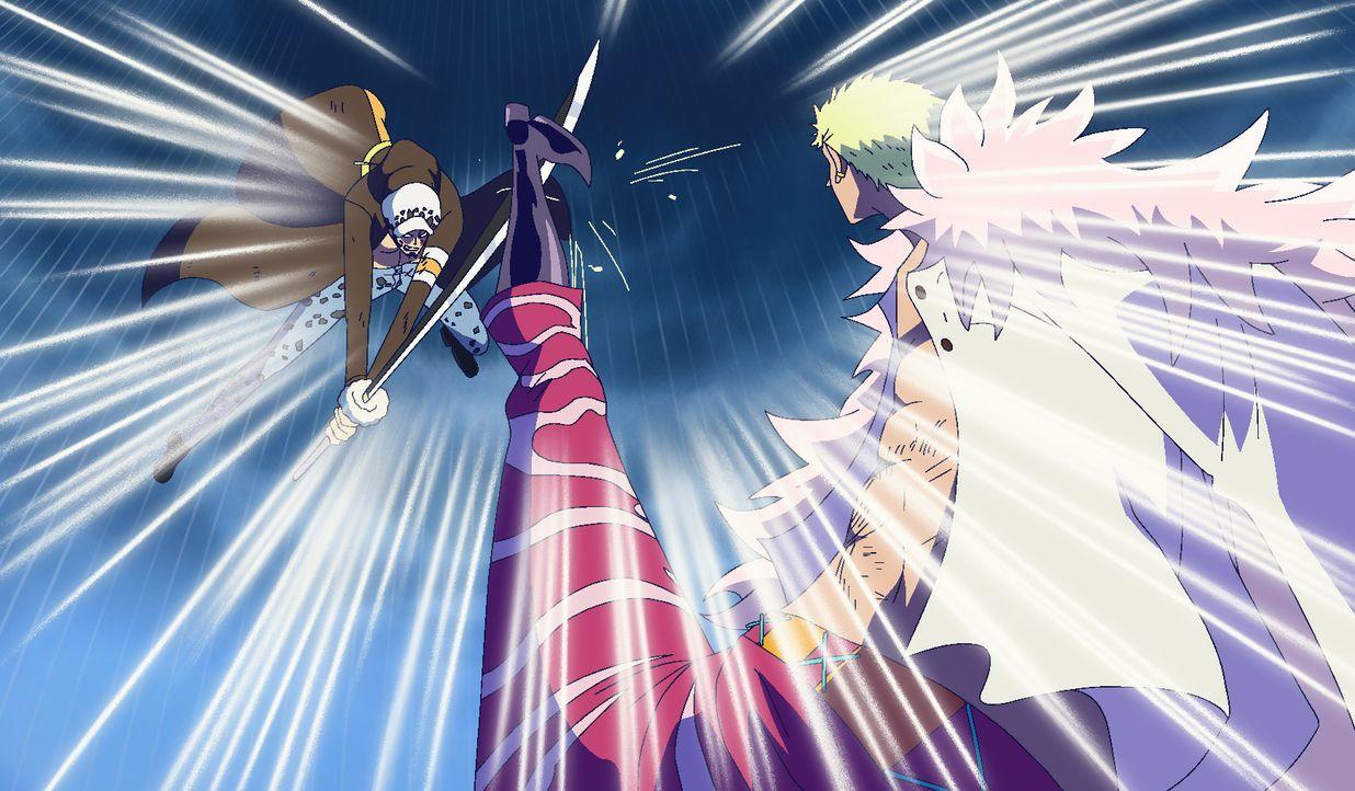 Trafalgar D. Law (l.); De Flamingo (r.) - Bildquelle: Eiichiro Oda/Shueisha, Toei Animation