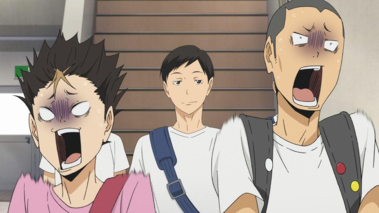 "(v.l.n.r.) Yu Nishinoya; Chikara Ennoshita; Ryunosuke Tanaka - Bildquelle: H. Furudate / Shueisha, ""HAIKYU!! 2nd Season"" Project, MBS  All Rights Reserved."