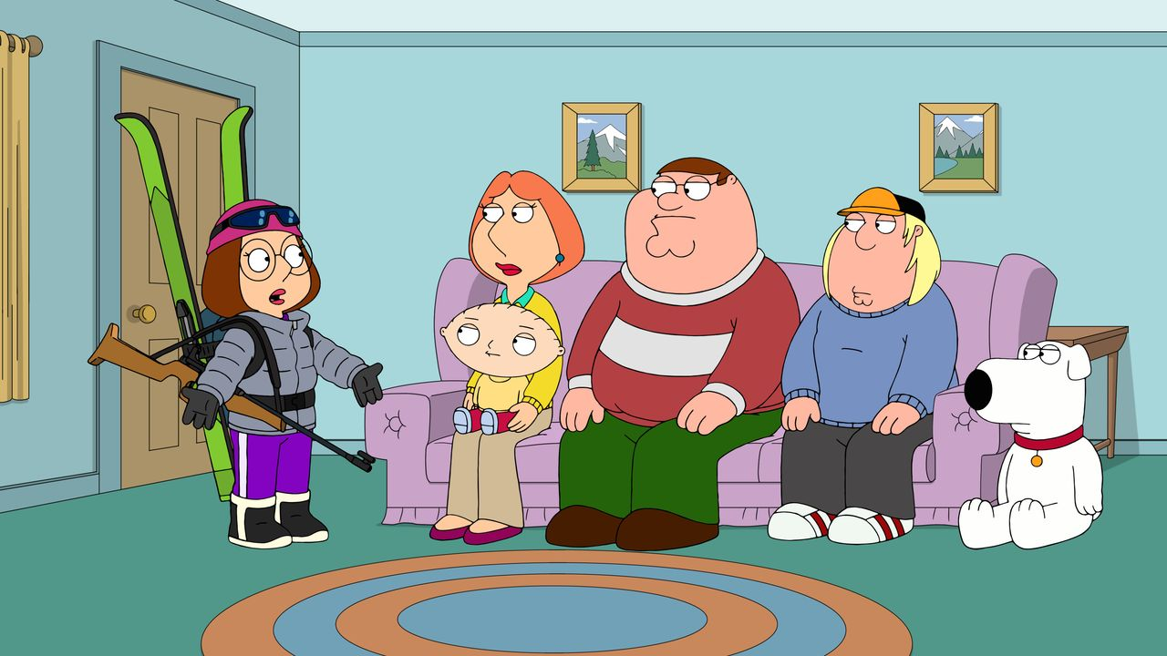 (v.l.n.r.) Meg Griffin; Lois Griffin; Stewie Griffin; Peter Griffin; Chris Griffin; Brian Griffin - Bildquelle: 2018-2019 Fox and its related entities. All rights reserved.