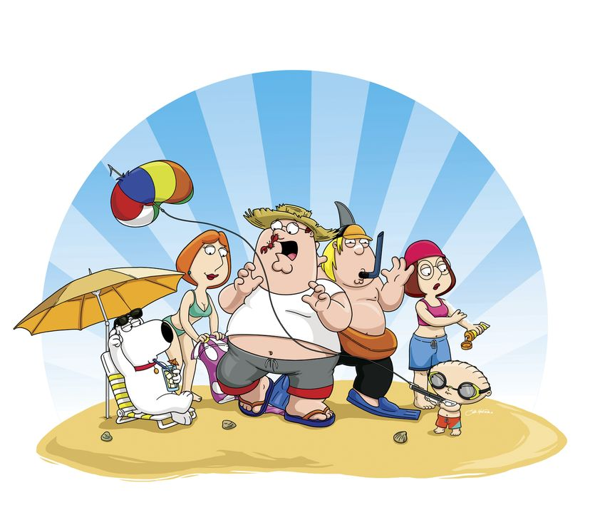 (8. Staffel) - Eine Mittelklasse-Familie: Chris (3.v.r.), Brian (l.), Peter (3.v.l.), Meg (2.v.r.), Stewie (r.) und Lois Griffin (2.v.l.) ... - Bildquelle: 2006-2007 Twentieth Century Fox Film Corporation. All rights reserved.