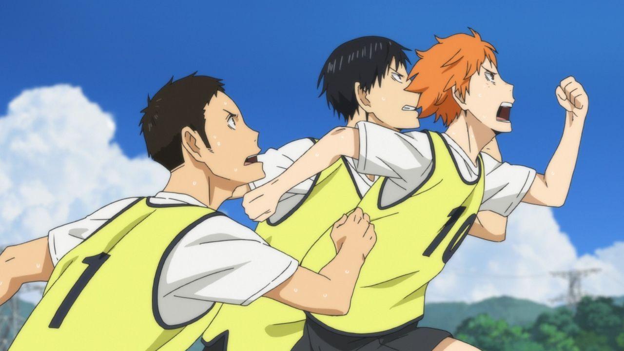 "(v.l.n.r.) Daichi Sawamura; Tobio Kageyama; Shoyo Hinata - Bildquelle: H. Furudate / Shueisha, ""HAIKYU!! 2nd Season"" Project, MBS  All Rights Reserved."