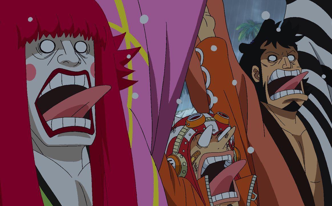 (v.l.n.r.) Kanjuro; Lysop; Kinemon - Bildquelle: Eiichiro Oda/Shueisha, Toei Animation