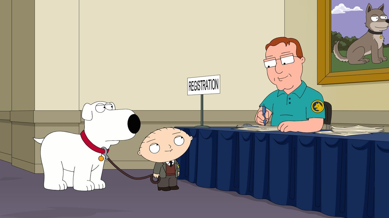 Brian Griffin (l.); Stewie Griffin (Mitte) - Bildquelle: 2018-2019 Fox and its related entities. All rights reserved.