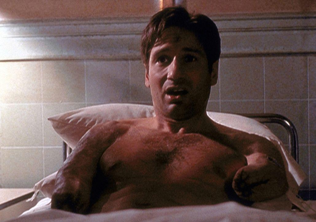 Als Mulder (David Duchovny) in einem Krankenbett erwacht, fehlen ihm beide Arme. Diesen grauenvollen Alptraum verdankt er einer künstlichen Intellig... - Bildquelle: TM +   2000 Twentieth Century Fox Film Corporation. All Rights Reserved.