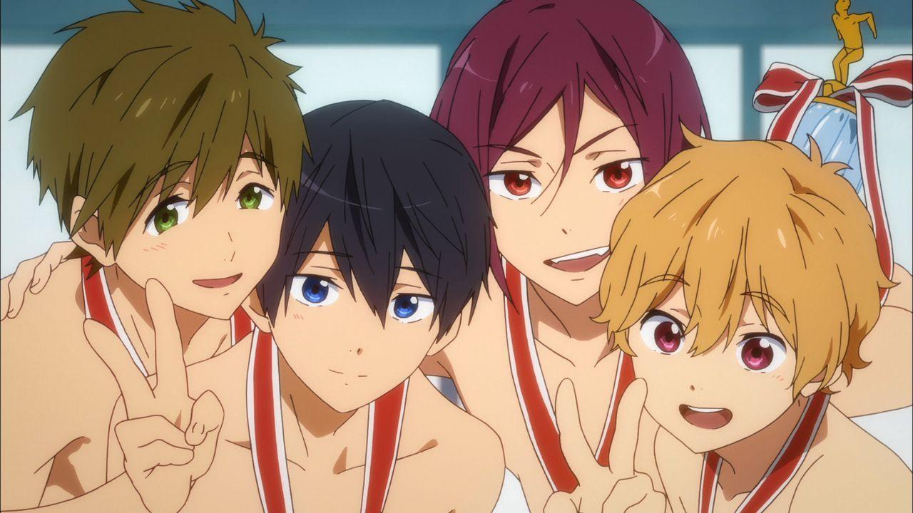 (v.l.n.r.) Makoto Tachibana; Haruka Nanase; Rin Matsuoka; Nagisa Hazuki - Bildquelle: 2017 Ohji Kouji/Kyoto Animation/Iwatobi High School Swimming Club TM the Promise Production Committee