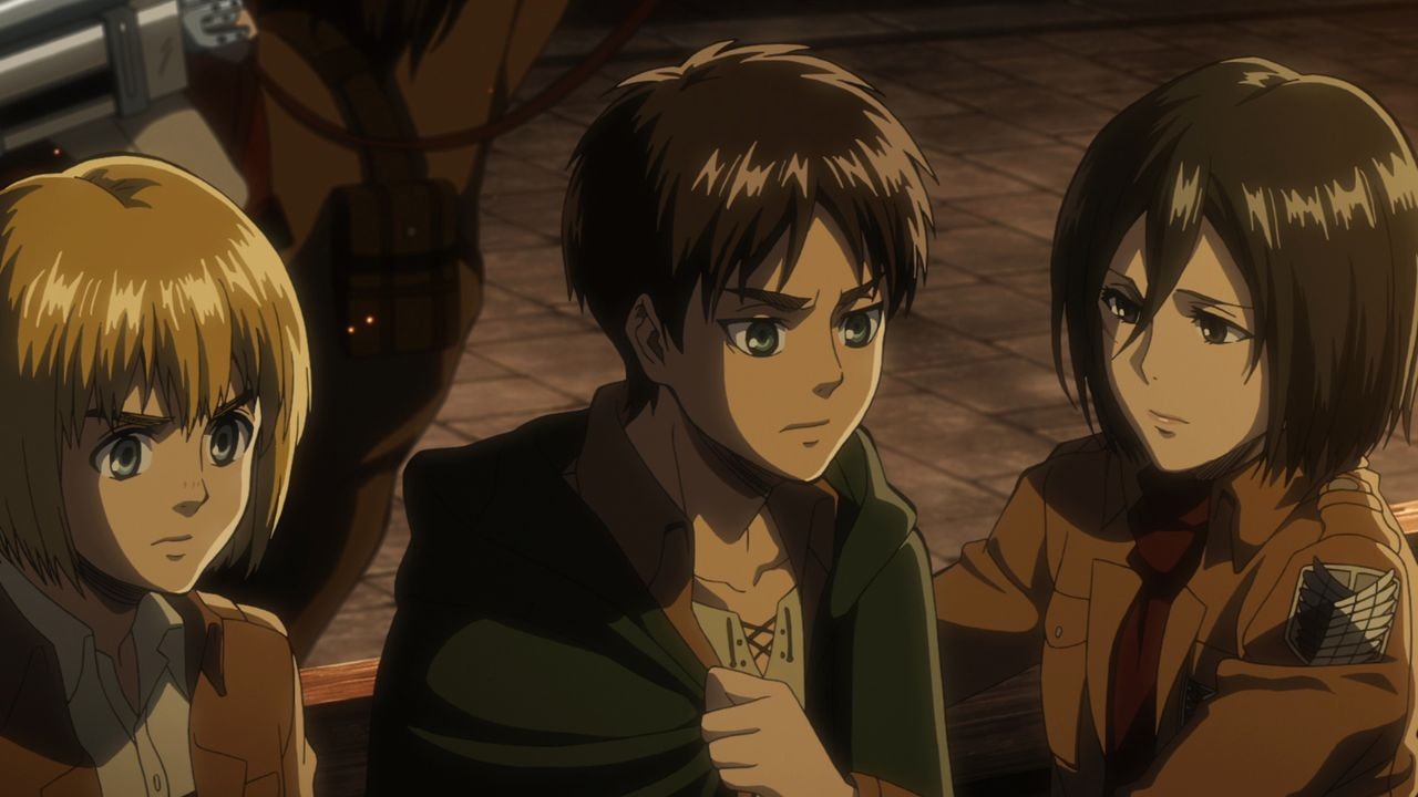 "(v.l.n.r.) Armin Alert; Eren Jäger; Mikasa Ackermann - Bildquelle: Hajime Isayama, Kodansha/""ATTACK ON TITAN"" Production Committee. All Rights Reserved."