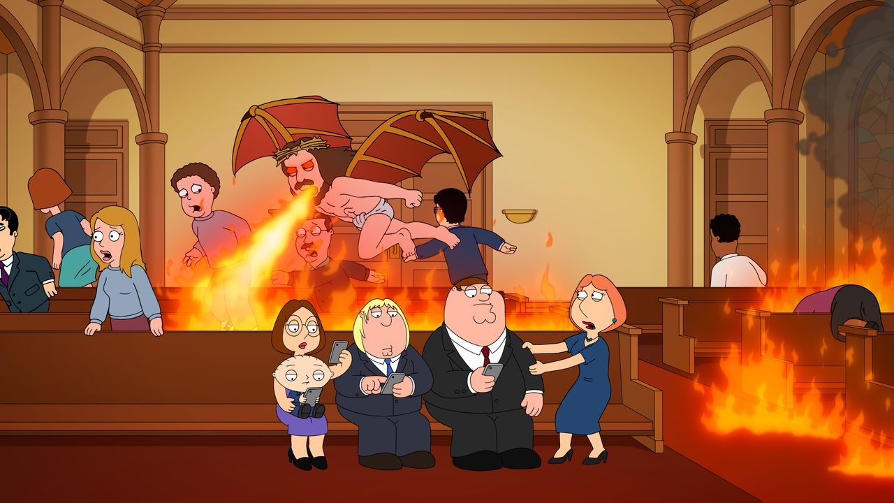 (v.l.n.r.) Meg Griffin, Stewie Griffin, Chris Griffin, Peter Griffin, Lois Griffin - Bildquelle: 2018-2019 Fox and its related entities.  All rights reserved.