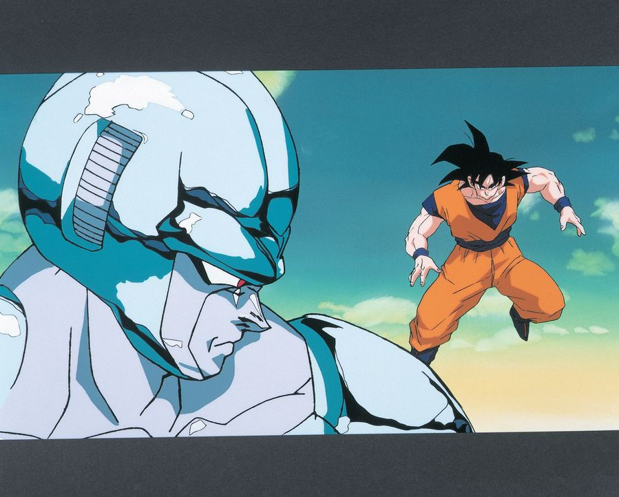 (v.l.n.r.) Metall-Cooler; Son Goku - Bildquelle: 1992 TOEI ANIMATION CO., LTD.