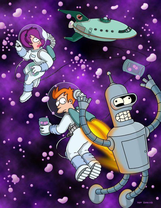 (5. Staffel) - Mit seinen neuen Freunden Leela (l.) und Roboter Bender (r.) erkundet Fry (M.) den Weltraum. - Bildquelle: und TM Twenthieth Century Fox Film Corporation - Alle Rechte vorbehalten