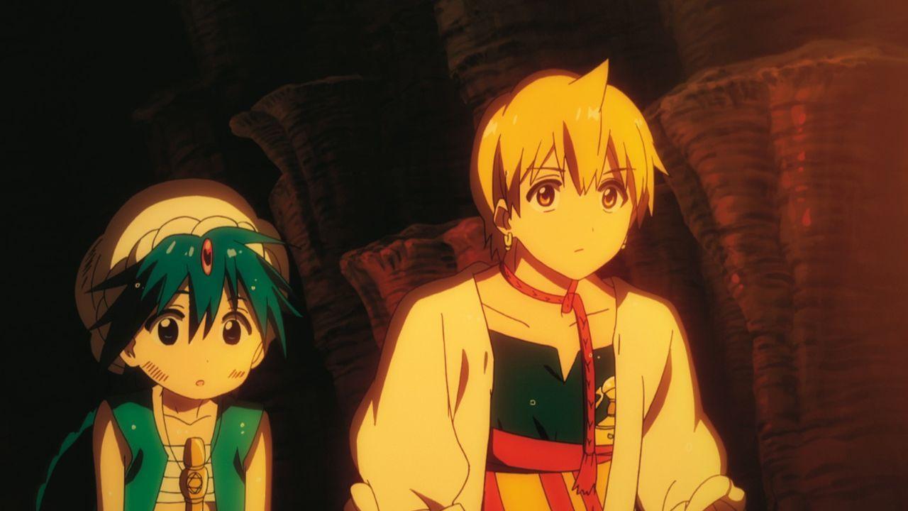 In Ali Baba (r.) findet der junge Zauberer Aladdin (l.) einen wahren Freund, mit dem er sich auf die Suche nach unermesslich wertvollen Schätzen mac... - Bildquelle: Shinobu Ohtaka / SHOGAKUKAN, Magi Committee, MBS