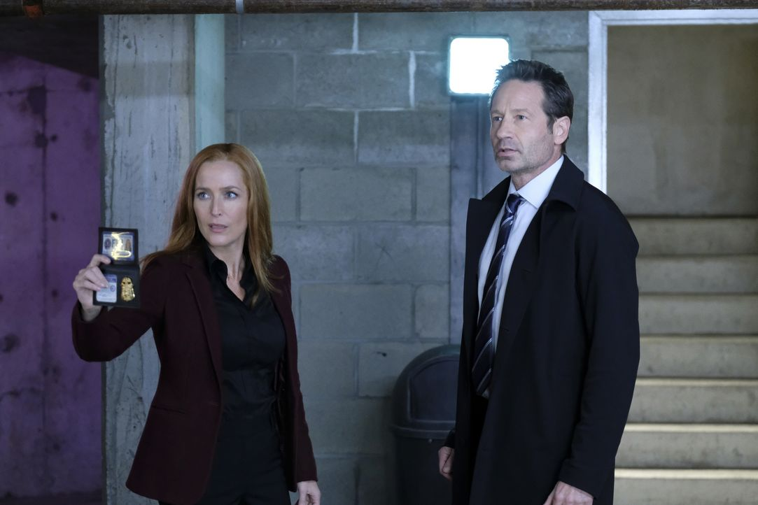 Scully (Gillian Anderson, l.) und Mulder (David Duchovny, r.) ermitteln in einem Fall, bei dem sich eine ganze Gruppe Menschen an eine alternative R... - Bildquelle: Shane Harvey 2018 Fox and its related entities. All rights reserved. / Shane Harvey