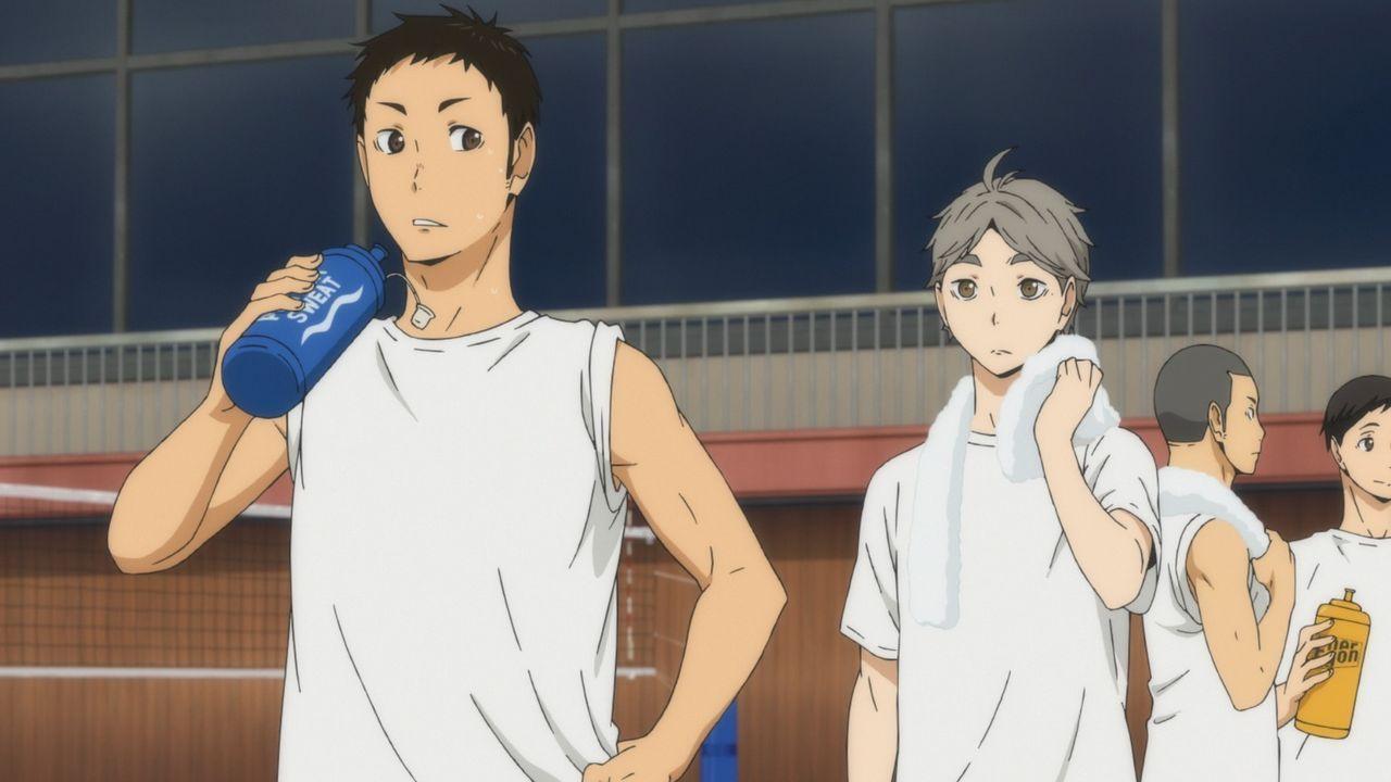 "(v.l.n.r.) Daichi Sawamura; Koshi Sugawara; Ryunosuke Tanaka; Chikara Ennoshita - Bildquelle: H. Furudate / Shueisha, ""HAIKYU!! 2nd Season"" Project, MBS  All Rights Reserved."