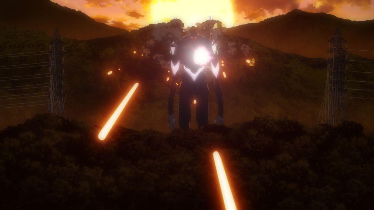 Während Rei im Inneren ihres Evangelion gefangen ist, wird Asuka beim Versuch sie zu befreien schwer verletzt. Kann Shinji sie retten? - Bildquelle: khara, GAINAX. All rights reserved