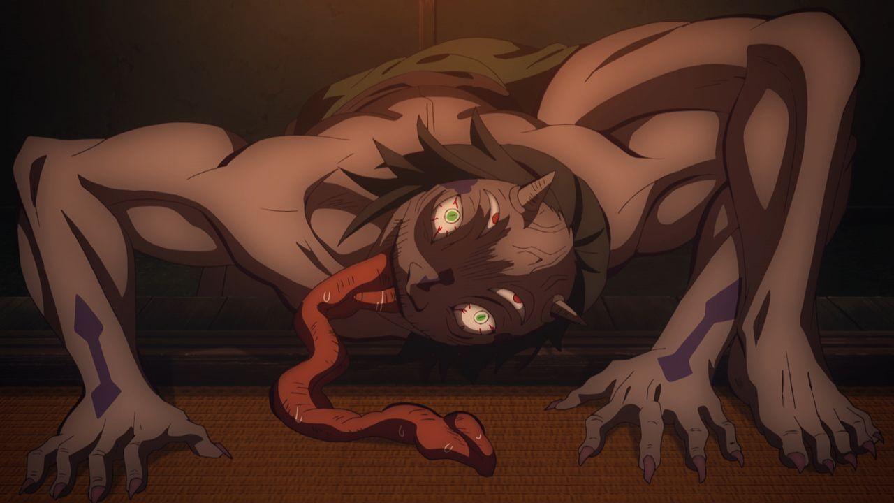 Das Wildschwein fletscht die Zähne und Zen'itsu schläft - Bildquelle: Koyoharu Gotoge / SHUEISHA, Aniplex, ufotable