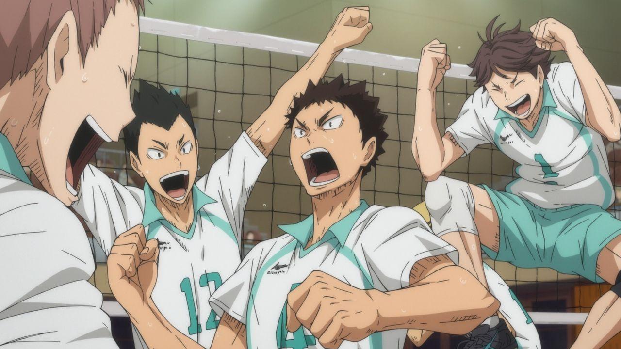 """(v.l.n.r.) Takahiro Hanamaki; Yutaro Kindaichi; Hajime Iwaizumi; Toru Oikawa - Bildquelle: H. Furudate / Shueisha, """"HAIKYU!! 2nd Season"""" Project, MBS  All Rights Reserved."""