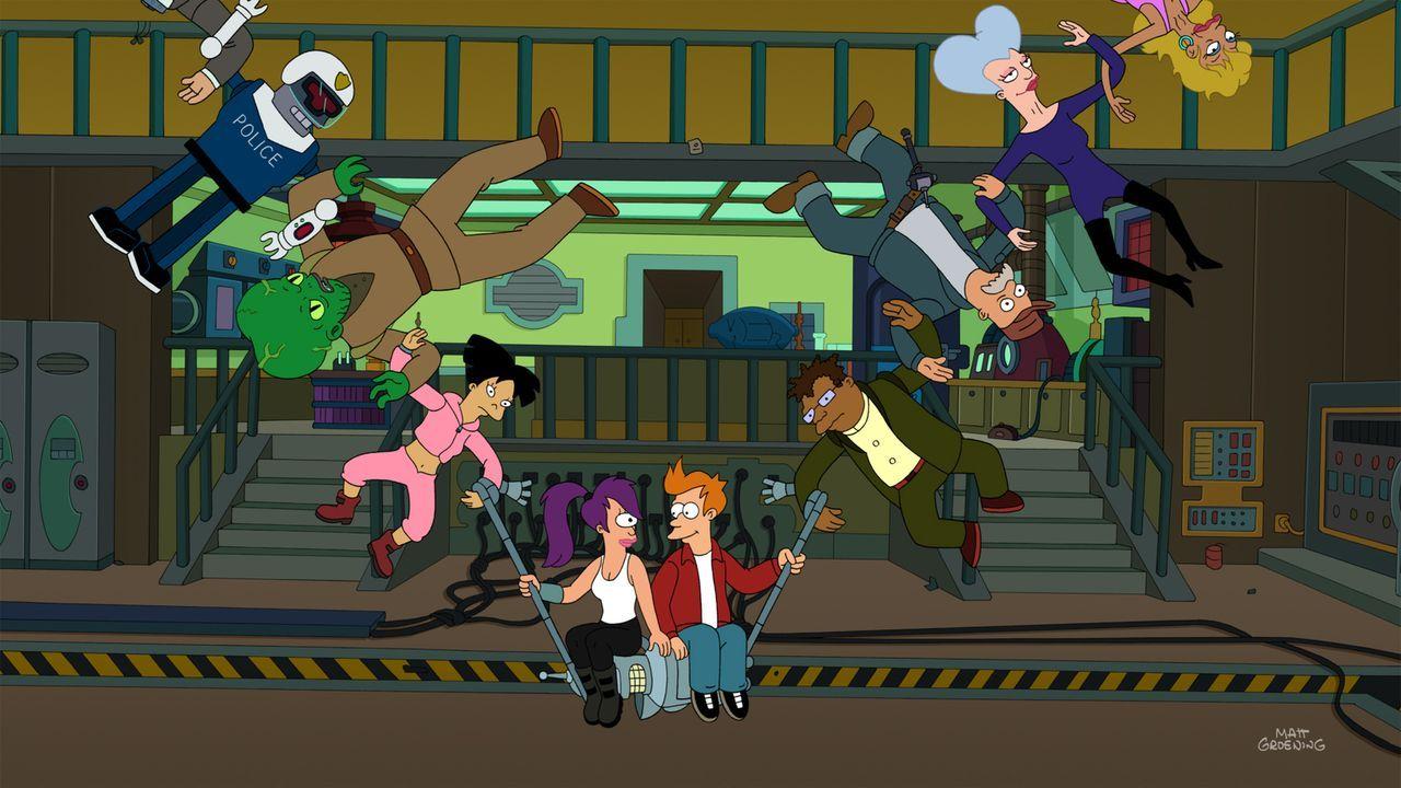 Fry (unten r.) löst mit dem neuen Gerät von Professor Farnsworth einen kompletten Zeitstillstand des ganzen Universums aus, der nur ihn und Leela (u... - Bildquelle: Twentieth Century Fox Film Corporation. All rights reserved.