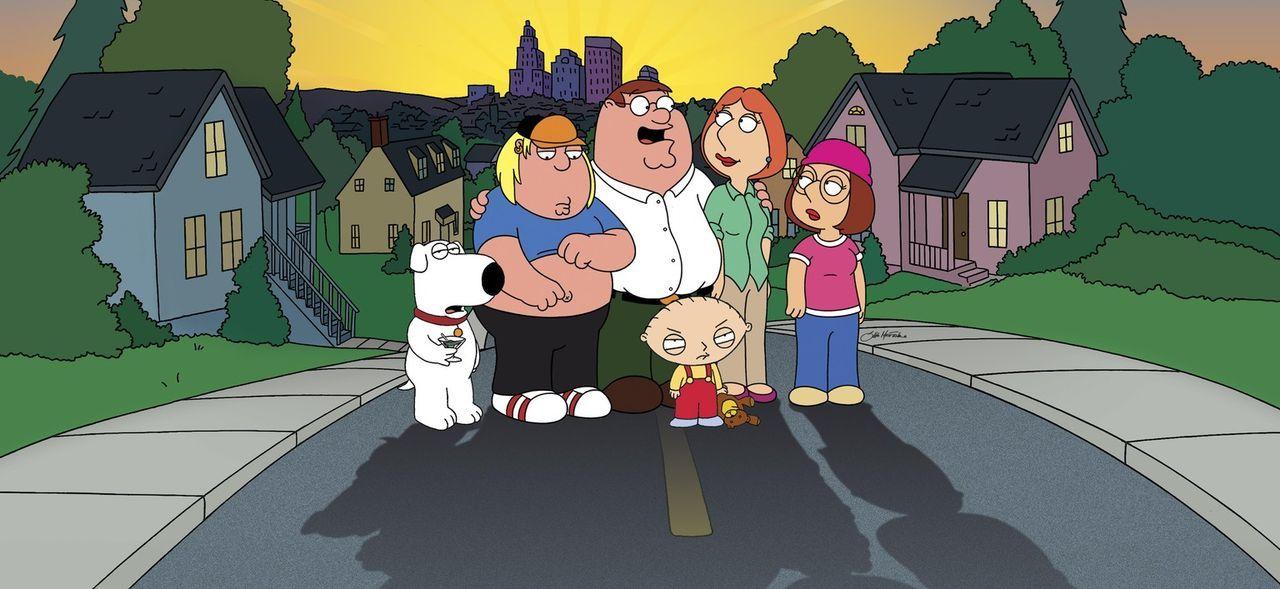"""(3. Staffel) - Die Griffins sind eine nach außen hin """"völlig normale"""" Familie: (v.l.n.r.) Brian, Chris, Peter, Stewie, Lois und Meg ... - Bildquelle: 2005 FAMILY GUY and TCFFC ALL RIGHTS RESERVED.    2005 FOX BROADCASTING"""
