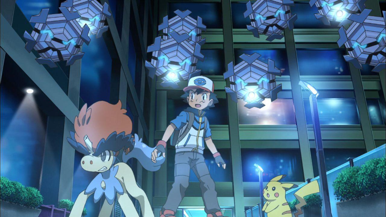 Müssen gemeinsam in den Kampf ziehen: Keldeo (l.), Ash (M.) und Pikachu (r.) ... - Bildquelle: 2014 Pokémon.   1997-2014 Nintendo, Creatures, GAME FREAK, TV Tokyo, ShoPro, JR Kikaku. TM, ® Nintendo.