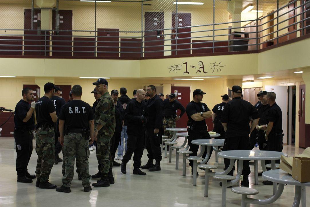 Die Gefängniswärter sammeln sich im Zellenblock 1-A ... - Bildquelle: Patricia Seely 2010 NGC Network US, LLC All Rights Reserved