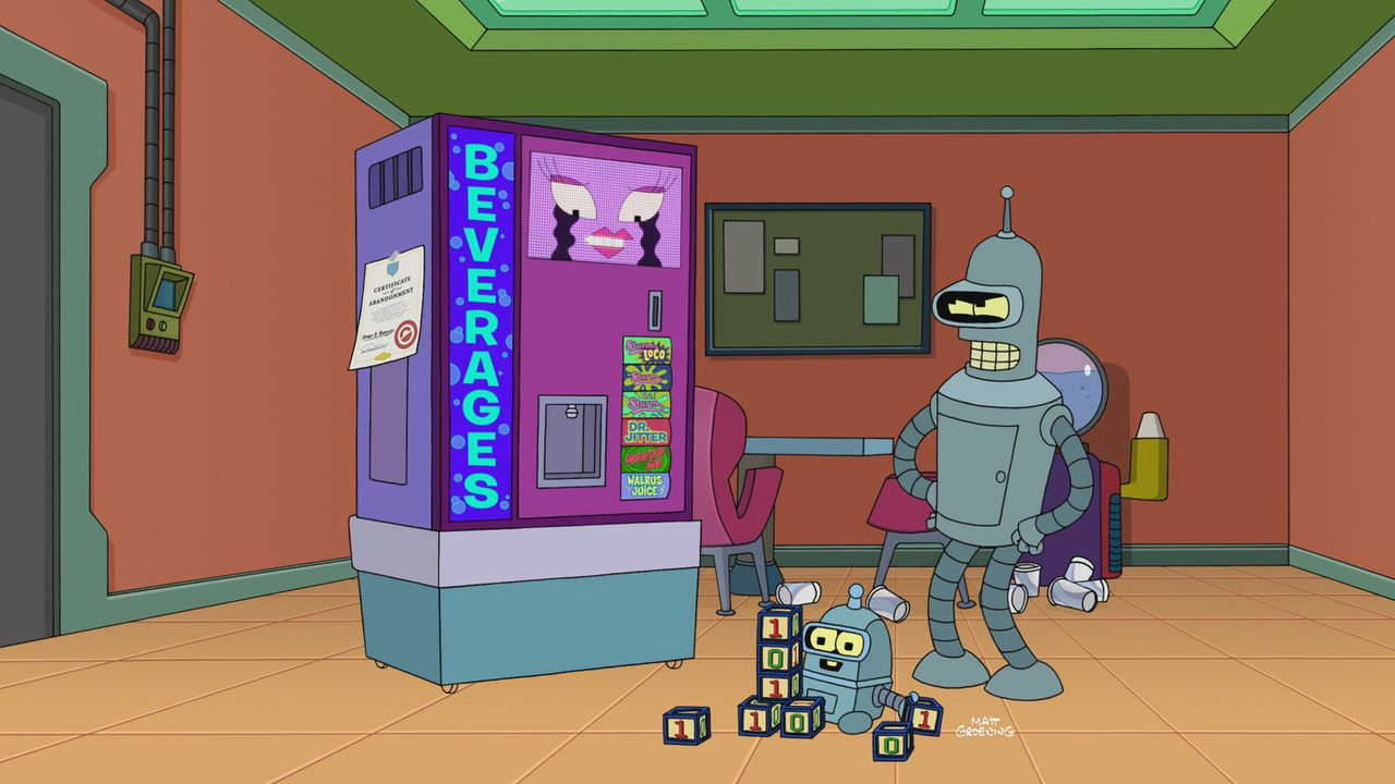 Bender (r.) gerät mit der neuesten Errungenschaft bei Planet Express, einem Getränkeautomaten namens Bev (l.), aneinander. Doch aus einem Streit w... - Bildquelle: 2010 Twentieth Century Fox Film Corporation. All rights reserved.